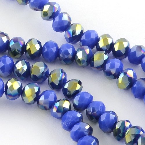 70+ Blue/AB Czech Crystal Opaque Glass 6 x 8mm Faceted Rondelle Beads - (HA20160) - Charming Beads