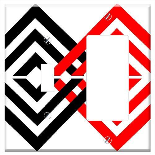 (1-Toggle 1-Rocker/GFCI Combination Wall Plate Cover - Background Diamond Diamond Background Geometr )
