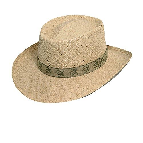Scala Organic Raffia Gambler with Turtle Tape Hat (L/XL, Khaki) ()