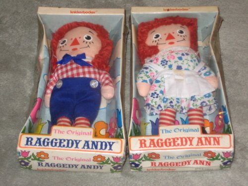 SET OF 2 - Vintage Knickerbocker Raggedy Ann & Raggedy Andy 6 Inch Rag Dolls (package wear as in photo)