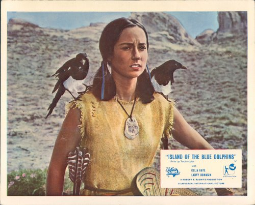 island-of-the-blue-dolphins-celia-kaye-with-birds-original-lobby-card