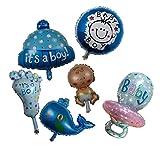 Newborn Baby Boy Shower Balloon - Set of 6 Foil Mylar Helium Cute Kid Foot ...