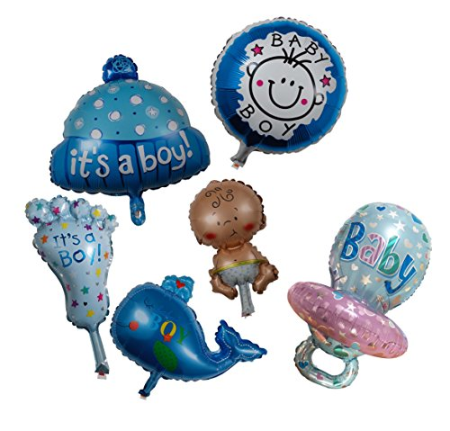 Newborn Baby Boy Shower Kit Balloon - Set of 6 Cute Favour Foil Mylar Helium Cute Kid Foot Pacifier Round Happy Boy Whale Cupcake Idea For Blue Party Anniversary Invitation Photography Décor