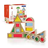 Guidecraft Jr. Rainbow Blocks 20 Piece Set: Kids Colorful Learning and Educational Toy