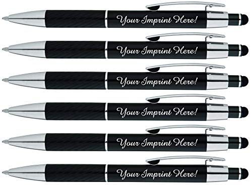Customized Pens with Stylus - The Prestige Metal Pen - Custom Printed Name Pens with Black Ink Personalized & Imprinted with Logo or Message -Great Gift Ideas- FREE PERSONALIZATION - 6 pack (Black)