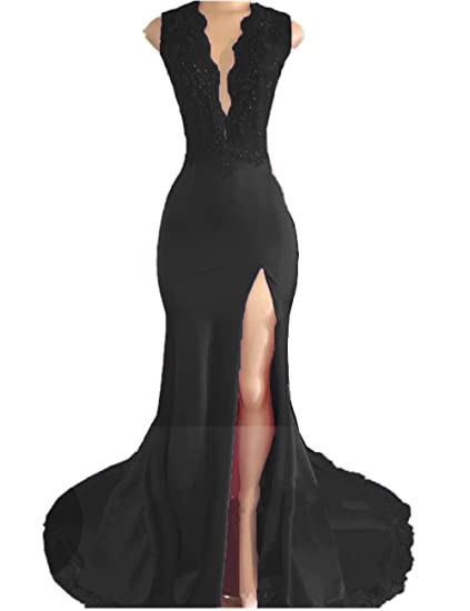 8fb7eafad5eb Promworld Women's V Neck Mermaid Beaded Evening Gown Open Back Split Long  Prom Dress Black US2