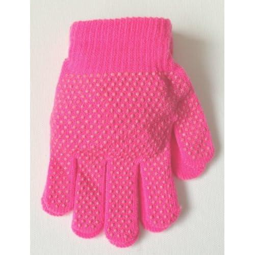 1 par de guantes royales para niños de color invierno cálido con agarre mágico – azul/rosa/morado/crema/negro/rosa intenso, KCGG004 - Kids Gripper x 1, rosa oscuro, talla única