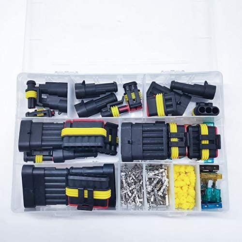 240Pcs/Pack Waterproof Car Motorcycle Auto Electrical Wire Connector Plug Kit Terminal Assortment 1 2 3 4 5 6 Pin Way with Blade Fuses
