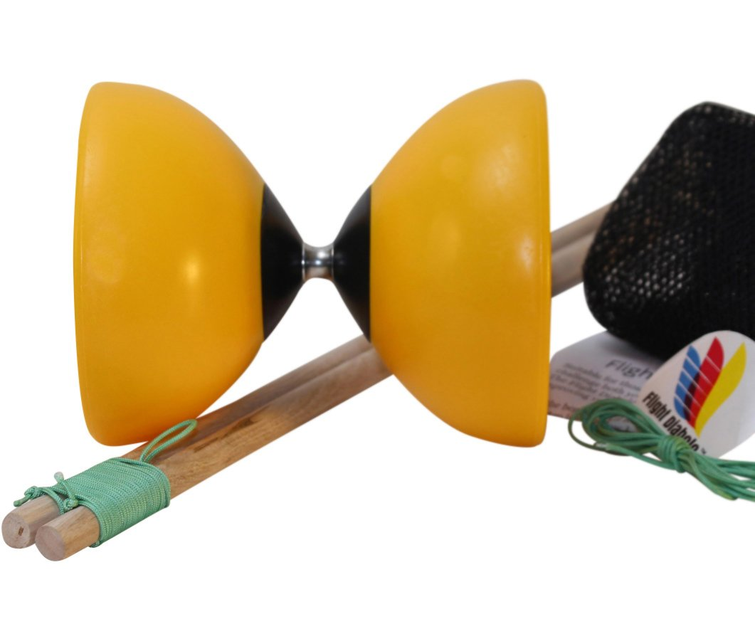 Flight Lander Pro Yellow Chinese Yoyo Diabolo with Wooden Sticks, Net Carrying Bag and Extra String