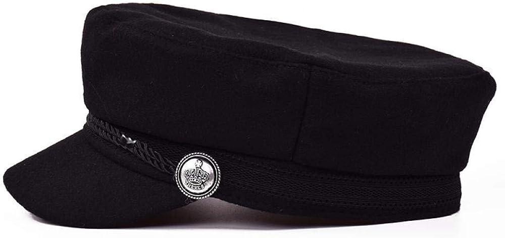 Shpflae Black Hat Cap Women Casual Streetwear Rope Flat Cap Elegant Solid Autumn Winter Warm