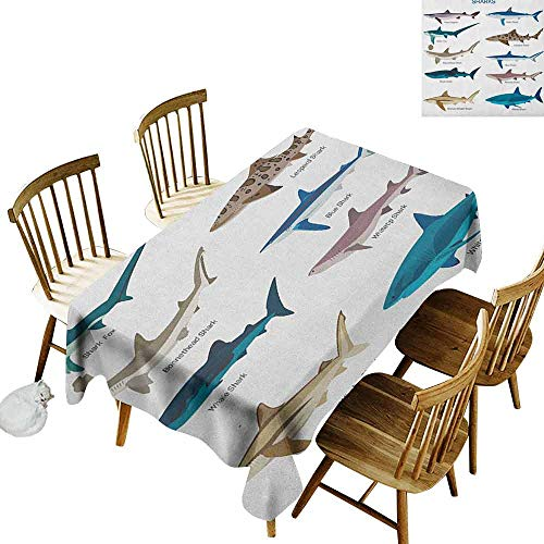 - DONEECKL Shark Wrinkle Free Tablecloth Indoor and Outdoor Tablecloth Collection Types of Sharks Bronze Whaler Piked Dogfish Whlae Shark Maritime Design Multicolor W54 xL72