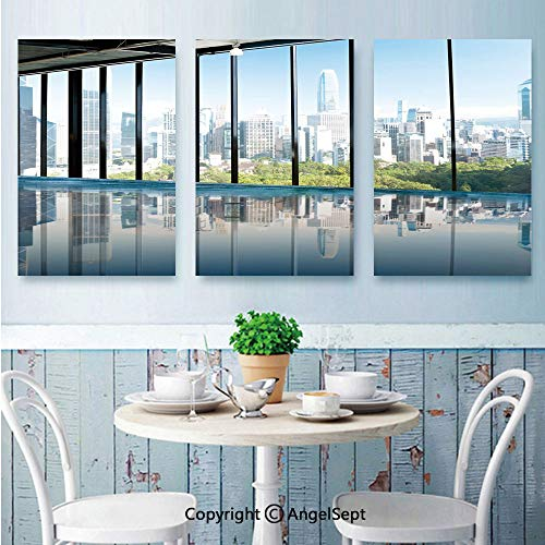 AngelSept 3 Piece Canvas Wall,Metropolitan Cityscape of New York USA in Central Park Forest Photo,for Modern Home Decor Stretched and Framed Ready to Hang,24