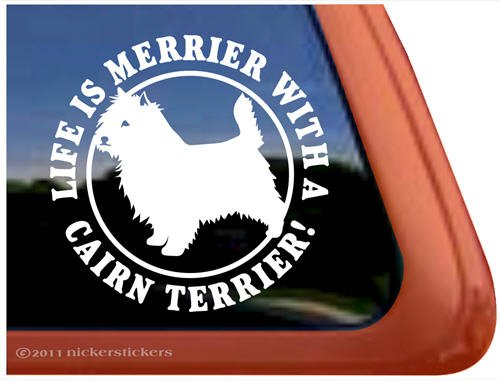 Life Is Merrier with a Cairn Terrier Dog Vinyl Window Decal