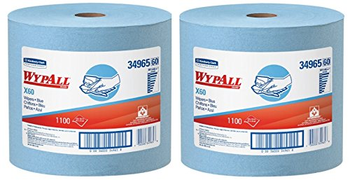 1100 Wipers (WypAll 34965 X60 Wipers, Jumbo Roll, 12 1/2 x 13 2/5, Blue, 1100 Sheets Per Roll, 2 Roll)