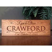 Qualtry Personalized Wooden Signs, Family Name Sign 5x15 - Personalized Wedding Gifts (Cherry Wood, Crawford Design)