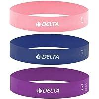 Delta 3'lü Aerobik Bandı Latex Bant Set Pilates Yoga Lastiği Seti Aerobik Bant Unisex, Çok Renkli, S, M, L veya XL