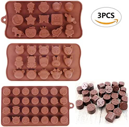 3PCS ISusser Chocolate Candy Baking Mould,Emoji Emotion、Animals And Other molds(3 Styles)
