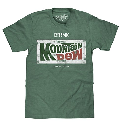 Tee Luv Retro Drink Mountain Dew Shirt - Distressed Mt Dew Logo T-Shirt (Forest Heather) (MD) (Mountain Shirt Big)