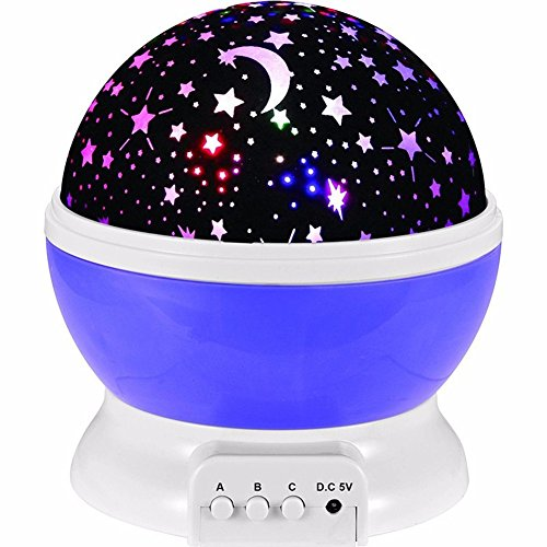 Star Projector Constellation Rotation Night Light Rechargeable Galaxy Light LED Bedroom Lamp with Music (Purple)