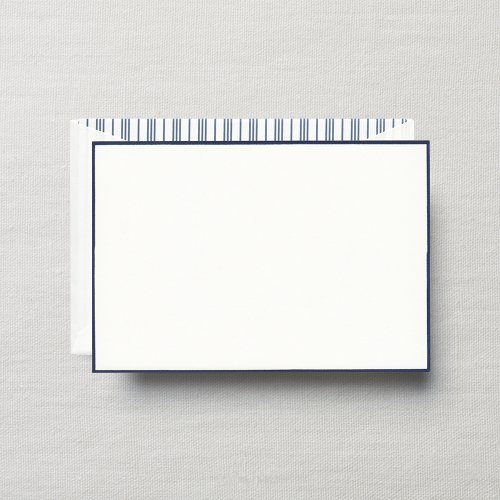 Crane & Co. Navy Bordered Pearl White Correspondence Card