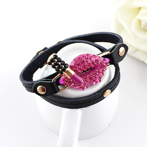 Hot Pink Color Rhinestone Lips with Lipstick Pu Leather Charm Bracelets and Bangles for Women with Free Jewelry Pouch