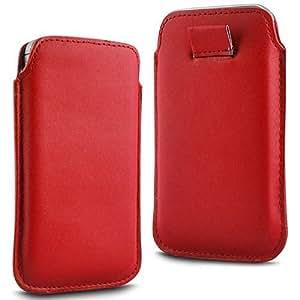 Online-Gadgets UK - HTC One caso del tirón del cuero de primera calidad PU suave Tire Tab Case - Red