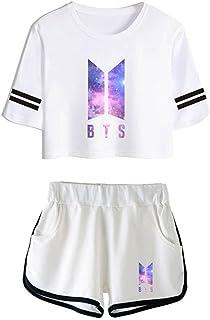 Yovvin Unisex BTS T-Shirt & Hosen Set, KPOP Bangtan Jungen Hip Pop Pullover Rundhals Kurzarm Tops Sportbekleidung Freizeitkleidung für Liebespaar Männer Damen und Jugendliche