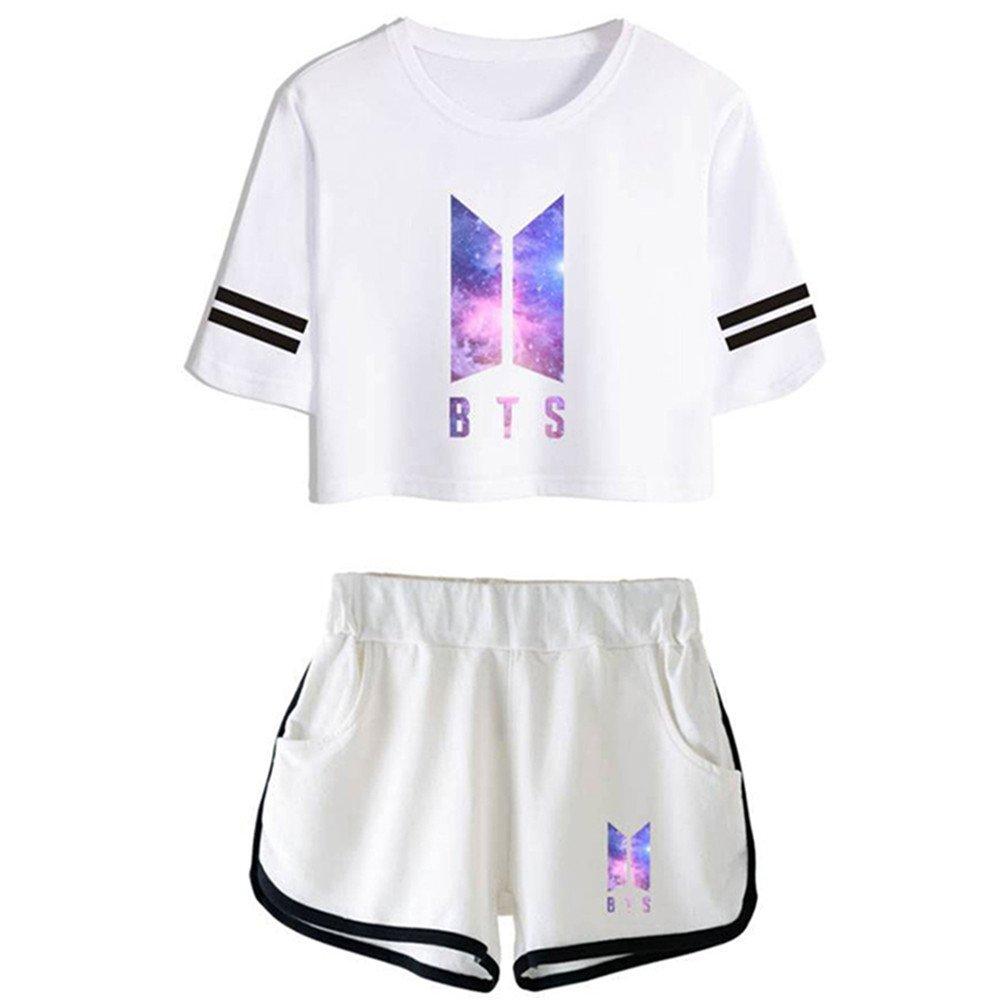 Yovvin Unisex BTS T-Shirt /& Hosen Set KPOP Bangtan Jungen Hip Pop Pullover Rundhals Kurzarm Tops Sportbekleidung Freizeitkleidung f/ür Liebespaar M/änner Damen und Jugendliche