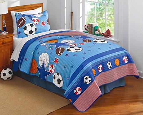 Sports and Stars Twin Quilt with Pillow Sham