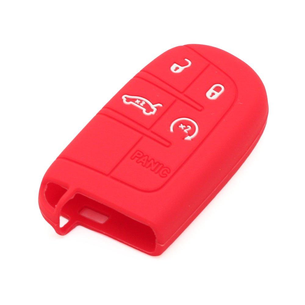 SEGADEN Silicone Cover Protector Case Skin Jacket fit for DODGE CHRYSLER 5 Button Smart Remote Key Fob CV4750 Black