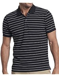 "<span class=""a-offscreen"">[Sponsored]</span>Vinedos Men's Short Sleeve Polo, Black and White Stripe, 100% Cotton Pique, Medium"
