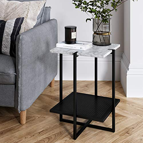 Nathan James 32604 Myles Modern Nightstand Marble Side Table Metal Frame, White/Black