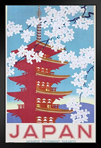 (Pyramid America Japan Government Railways Cherry Blossom Vintage Travel Ad Art Pagoda Framed Poster 14x20 inch)