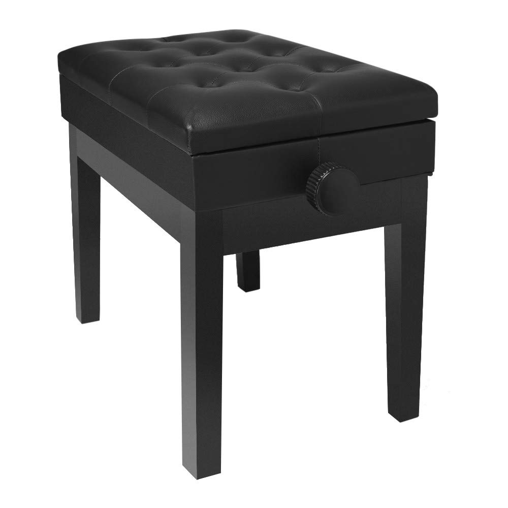 Yalasga Adjustable Wooden Piano Bench Stool with Sheet Music Storage Black Stainless Steel,Styling Cotton 25×14×8inch (Black) by Yalasga Wop