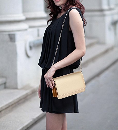 ANNA GRACE - Cartera de mano de piel sintética para mujer Design 1 - Gold