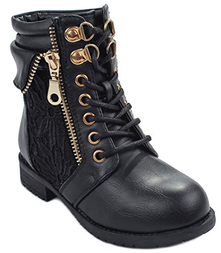 Kids Girls Sevilla66 Lace Up Leatherette Crochet High Top Ankle Cuff Motorcycle Bootie Boots