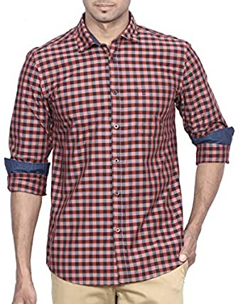 D Indian Club Cotton Carbon Peach Brownish Checks Shirt M 38