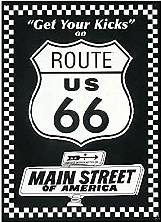 Route 66 Bl Wh Get Your Kicks Cartel de Chapa Placa metal ...