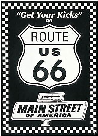 Route 66 Bl Wh Get Your Kicks Cartel de Chapa Placa metal ...