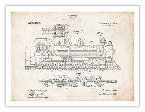 (Steves Poster Store Vintage Steam Locomotive 1915 US Patent Art Print Bennett Train Engine Gift UNFRAMED (5