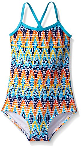 Lined One Piece Swimsuit - Kanu Surf Big Girls' Bali Beach Sport Banded One Piece Swimsuit, Candy Blue Chevron, 12