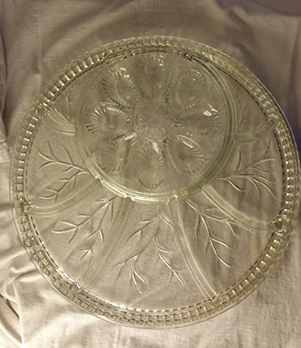 INDIANA Glass 0194 CRYSTAL EGG Hors D'oeuvre Tray Plate Platter Divided Separated Separate Serving Dish Vintage New in Original Box Clear Glass Holiday Party Fiesta Juevos Celebration Hostess Host Anniversary Birthday Baby Bridal Shower House Warming Gift Relish Olives Fruit (Indiana Glass Glass Plates)