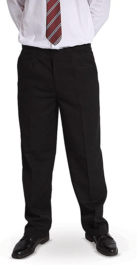 BOYS SCHOOL TROUSERS STURDY FIT UNIFORM HALF ELASTICATED ~REGULAR LEG ~