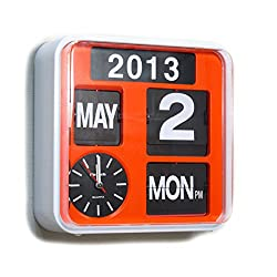 Fartech Retro Modern 9.5 Calendar Auto Flip Desk Wall Clock (orange)
