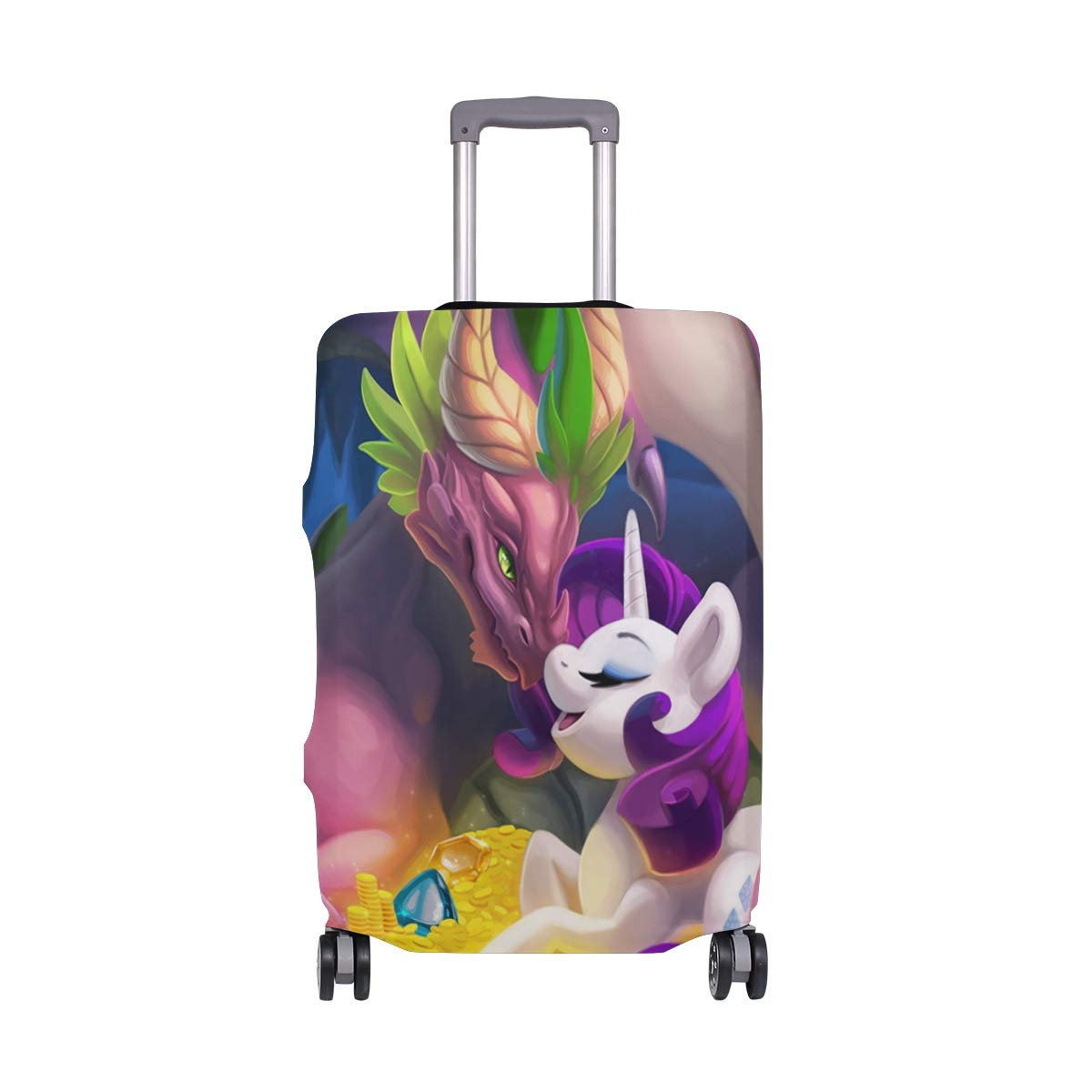 My Little Rainbow Pony Dragon Treasure Travel Luggage Cover Suitcase Protector Fits 26-28 Inch Washable Baggage Covers