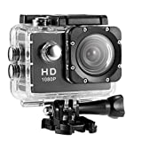 Action Camera Full HD 2.0 Inch 1080P 12MP Sports Camera Action Cam Underwater 30m/98ft with 8PCS Camera and Mounting Accessories, for Diving/Bicycle/Climbing/Swimming (Black)