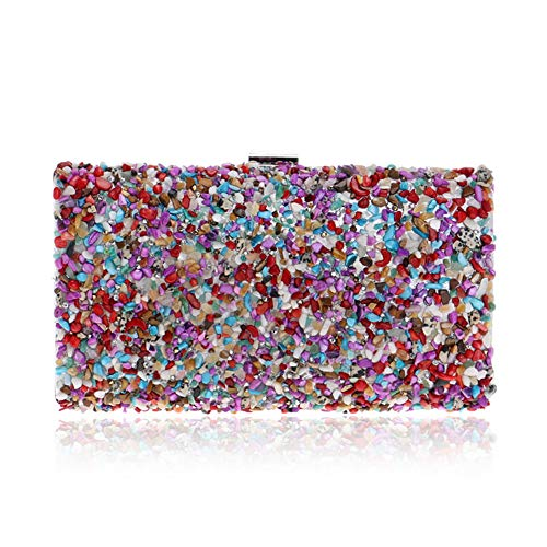 Dress Multicolored Material Clutch Pattern Bag Crossbody Clamshell RLF LF Women's Suede Handbags Shoulder Color Party By With Stone Banquet Evening Chain pcAIwqARF