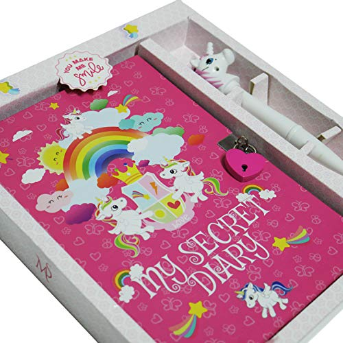 Monet Studios Children's Kid's Secret Diary Journal Notebook Pen Set with Lock and Key Unicorn Theme - for Girls Age 5 6 7 8 9 10 Years Old (Unicorn) ()
