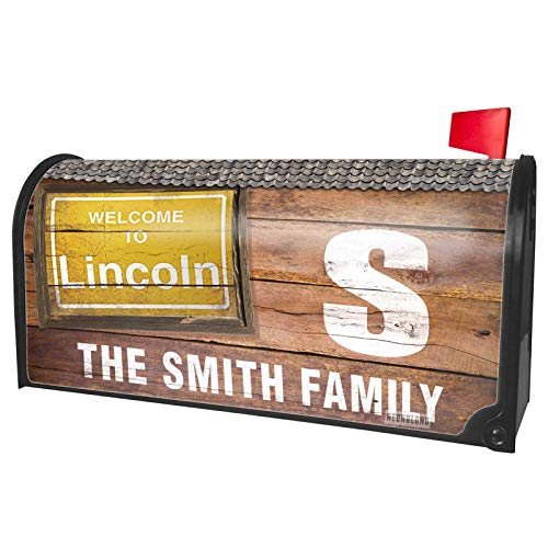 NEONBLOND Custom Mailbox Cover Yellow Road Sign Welcome to Lincoln -