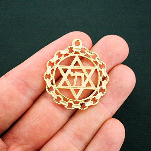 - 2 Star of David Pendant Charms Gold Tone Chai Charms Jewelry Making Supply Pendant Bracelet DIY Crafting by Wholesale Charms